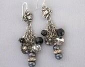 Assemblage Earrings - Vintage Religious Earrings - Rhinestone Dangle Earrings