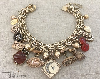 Antique Charm Bracelet - Victorian Locket - Gold Filled - Watch Fob - Victorian Cuff Links - Buttons - OOAK Assemblage - JryenDesigns