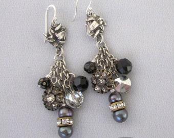 Vintage Assemblage Dangle Earrings - Vintage Religious Earrings - Rhinestone Dangle Earrings
