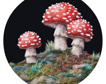 Magical Woodland Toadstool Trio - High Quality Giclee Print -  8x10