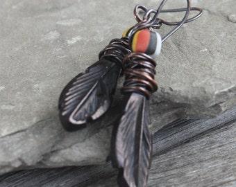 Black Carved Bone Feather Earrings - Raven's Feather Earrings - Oxidized Copper Wire Wrapped, primitive earrings, rustic earrings, tribal