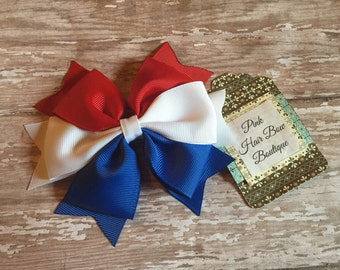 Red white and blue hair bow , 4th of July hair bow , patriotic hair bow , cheer bow , 5 inch hair bow , Fourth of July bow