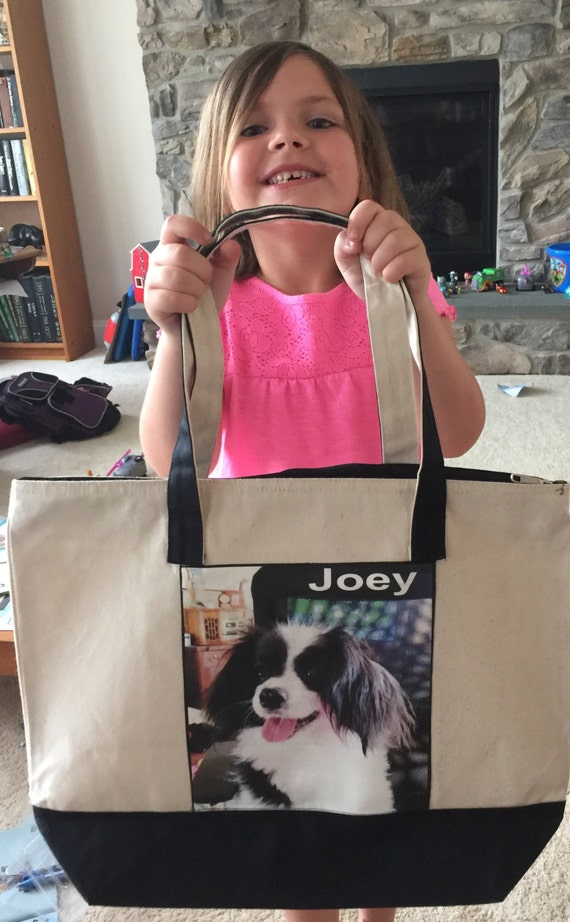 Photo Tote Bag - TWO Photo Collage Panels up to 8 photos each two tone with zipper - large 17.5in x14.5in height  - so many  everyday uses