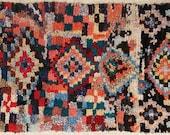 FREE SHIPPING WORLDWIDE L22147 vintage boucherouite rug, moroccan rugs , rag rug, berber tribal art, morocco carpets, wall art