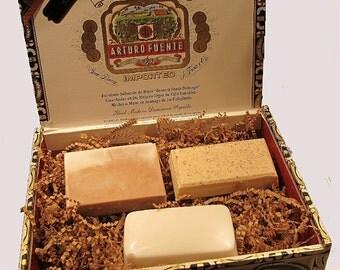 Father's Day Men's Cigar Box Gift Set - 3 Soap Bars, Arturo Fuente Double Chateau Collection