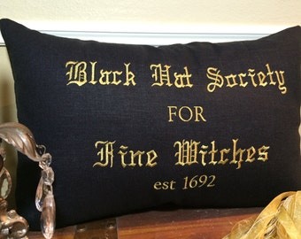 Black Hat Society For Fine Witches - Black Linen pillow cover