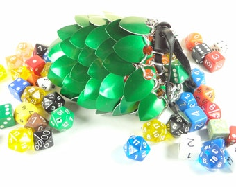 Dungeons And Dragons Dice Bag - Large Green Aluminum - Chainmaille And Scales - SKDB-SC-L-GR