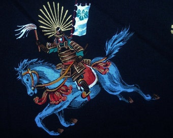Japanese horseman, gold metallic, black, fat quarter, pure cotton fabric