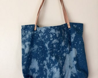 Hand-bleached denim tote with leather straps - 002