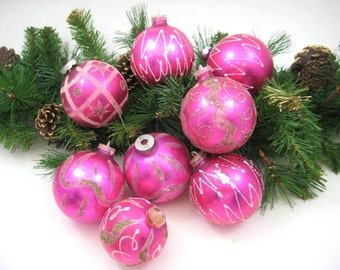 Vintage Glass Christmas Ornaments - Lot of 8 Bright Pink Mica Flocked Shiny Glass Balls, Mod Designs