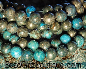 8mm Turquoise Pyrite Round Beads  -15.5