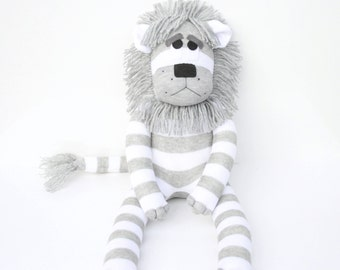 Leonard the Sock Lion - grey and white stripes - MADE TO ORDER