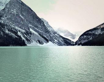Lake Louise Photography Print 12x18 Fine Art Banff Canada Aqua Mountains Wilderness Snow Winter Landscape Photography Print.