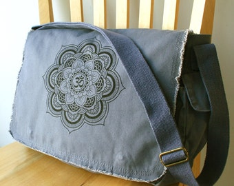 Mandala Canvas Messenger Bag Laptop Bag Crossbody Bag