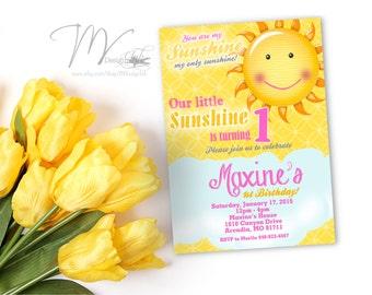 You Are My Sunshine Birthday Invitation, Sunshine Birthday Invitation, Little Miss Sunshine Birthday Invitations, Girl 1st Birthday Card