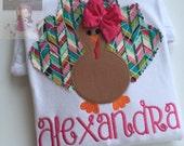 Thanksgiving bodysuit or shirt for girls -- Posh Turkey  --Turkey bodysuit or shirt with name in turquoise, tan and fuchsias