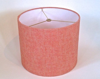 Small Modern Coral Linen Drum Lampshade