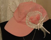 Pink hat, valentines hearts, lace,shabby chic, romantic, mori girl, boho