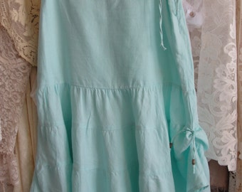 Turquoise blue skirt, upcycled, mori girl, spring fashion, altered couture