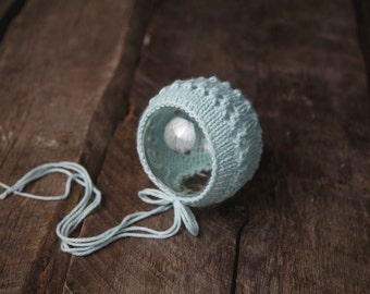 Eyelet Knit Newborn Bonnet