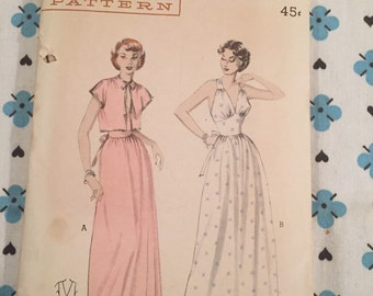Butterick 6417 Bust 34 Truly Glamorous 1950's Gown or Negligee and Jacket. Uncut, Factory Folds.