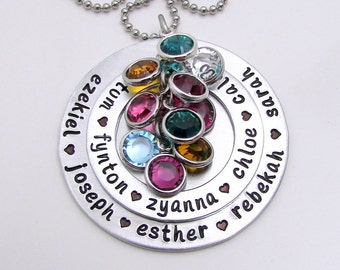 Hand Stamped Necklace - Personalized Necklace - Personalized Birthstone Necklace - Personalized Large Family Necklace - Hand Stamped Jewelry