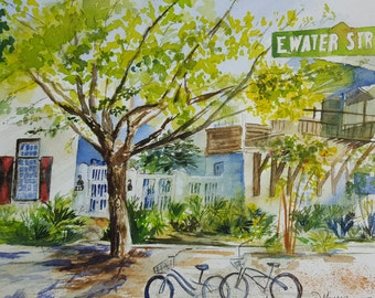 Custom Watercolor from your Photo: Example, Home on Water Street in Rosemary Beach, Florida