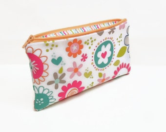 zipper pouch pencil case makeup bag zipper bag makeup pouch big flowers white