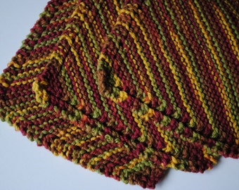 Set of 3 Cotton Dish Cloths, Green Gold and Burgundy, 100% cotton, biodegradable, green, environmentally friendly