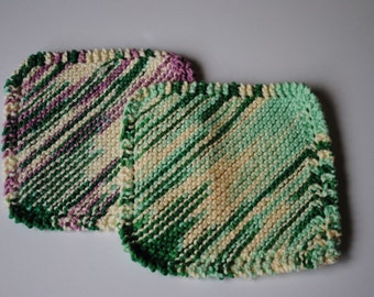 Set of 2 Cotton Dish Cloths, Emerald Green with mint and purple, 100% cotton, biodegradable, green, environmentally friendly