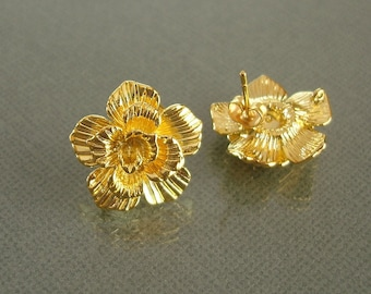 2pairs/4pcs- Gold Plated Brass Camellia Earrings Findings  Ear Post Earstud 19mmX19mm.