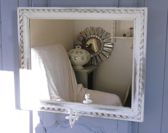 French Antique Mirror - Shabby chic and romantic mirror Gray Napoleon III , Gustavian Style