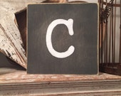 personalised letter block, initial, wooden letters, monograms, 15cm square, hand painted, letter C, chalkboard style