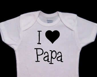 I Heart Papa I love Papa Cute Baby Onesie Bodysuit