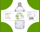 100 Tree Rustic water bottle labels - Wedding favors