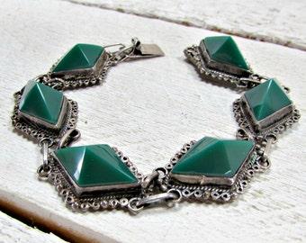 Antique Mexico Sterling Silver Bracelet, Green Glass Pyramid Bracelet, Antique Art Deco Bracelet, 1930s Mexican Fine Estate Art Deco Jewelry