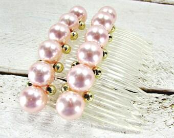 Vintage Pink Pearl Hair Combs, Big Large Pearl Hair Combs, Formal Prom Hair Combs, 1980s Hair Accessory, 80s Formal Prom Hair Accessories