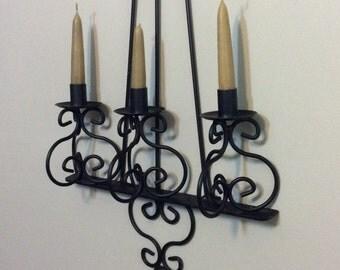 Black Metal Candelabra - Wall Sconce - Candle Holder