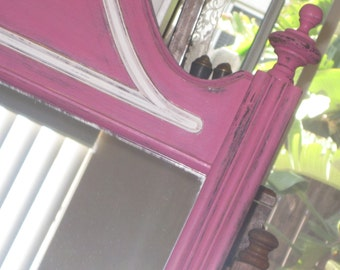 Large Chippendale Colonial Style Wood Mirror -  Vintage Full Length Shabby Chic - Hand Painted Fuchsia & White