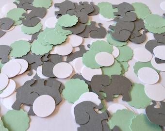 Elephant Baby Shower Decorations / Elephant Table Confetti  /  mint & Gray elephant CONFETTI - Gray elephant / Custom colors
