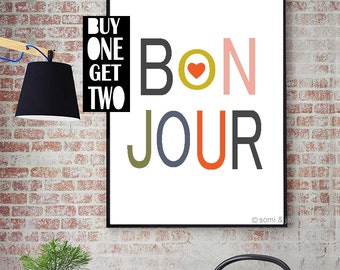 Bonjour Print - French Quote Print - Typography - Printable Poster - French Quote Print - Digital Download