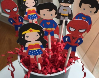 SET OF 12,  Superhero Cupcake Toppers, Die Cut