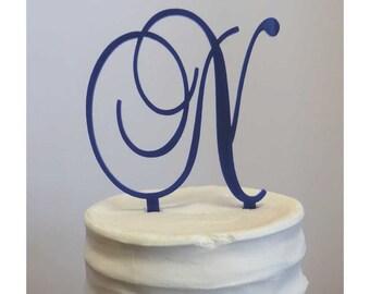 Single Letter Cake Topper Baroque Script Font