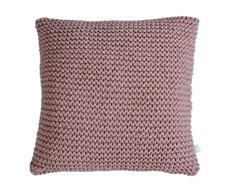 Chunky Knit Cushion | Hand Knit Wool Cushion Pillow Cover | DUSTY ROSE PINK | 45cm/18""