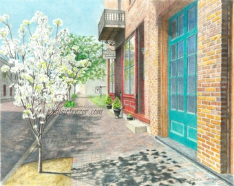 City Street Rural Spring Trees Orange Blue Print Free Shipping 5 x 7, 8 x 10, 11 x 14