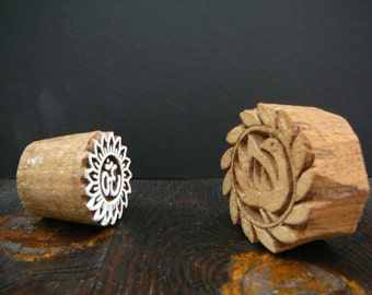 wood stamp press, wood blocks printing sacred om funky bird hand carved indian handicraft tribal