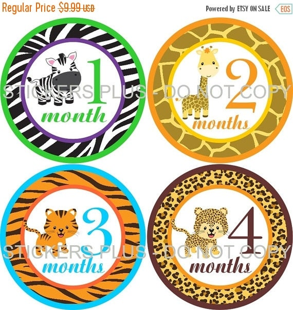 SALE Baby Boy or Girl Neutral Monthly Stickers Plus FREE Gift Zoo Jungle Animals Zebra Giraffe Leopard Tiger 1-12 Months Baby Month Stickers