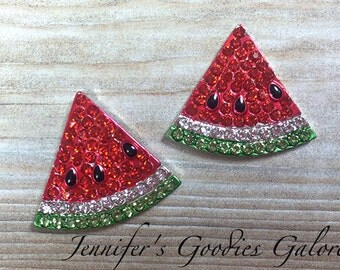 Red Rhinestone Watermelons, 19mm, Set of 2, Flatback Embellishments, Watermelon Buttons, Watermelon Embellishments, DIY Crafts