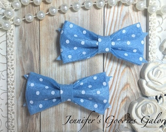 "3"", LIGHT BLUE Felt Bow, Polka Dot Felt Bows, Felt Bows, Felt Bow Appliqués, DIY Hair Bows, Baby Hair Bow, Girls Hair Bow, Toddler Hair Bow"