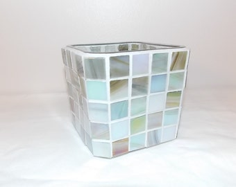 Silver Platinum Glass Mosaic Candle Holder